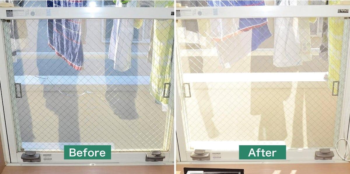 福井県のガラス交換・修理/一般住宅の上げ下げ窓のガラス交換
